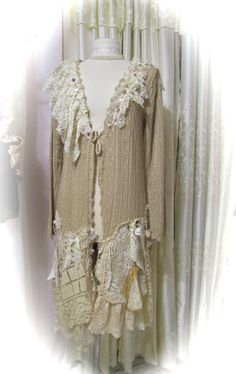 SALE..m.upcycled Linen dress art to wear dress tunic top Handmade Lace Pearls,Pocket,ruffles  applique steampunk,casual by Koolhanddesigns