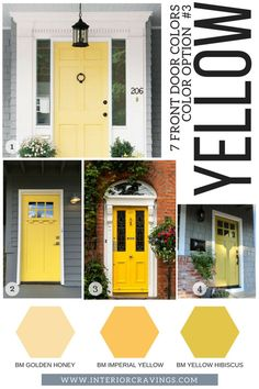 7 FRONT DOOR COLORS - yellow front doors inspiration and yellow paint codes and paint swatches Looking for a new to make your home stand out? Then make sure to read more to find t front door colors that are sure to make an impact.