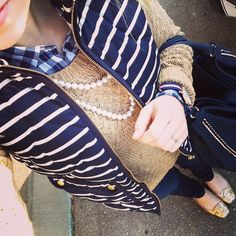 tan, gingham, and J.Crew striped excursion vest