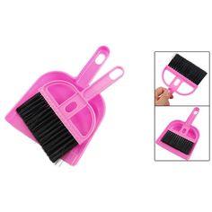 NOCM-Office Home Car Cleaning Mini Whisk Broom Dustpan Set Pink Black
