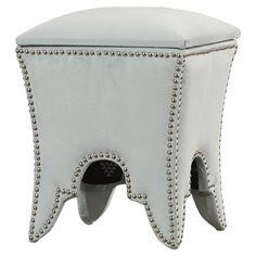 House of Hampton Marlin Ottoman Nailhead Detail: Silver, Upholstery: Silver Sage