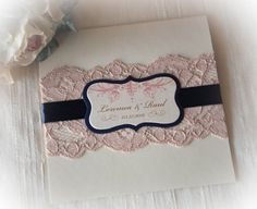 This is a romantic Lace Wedding Invitation in Pink and Gold color. It's handmade in multiple layers, lace and ribbon wrap around the cover and a die cut label/seal on cover. Color can be custom to match your wedding/event. ☼~~~~~~~~~~~~~~~☼ OUR PAPER AND PRINTING QUALITY ☼~~~~~~~~~~~~~~~☼ PRINTING -- Professional comercial press to present the crispy sharp text, rich color and image. PAPER -- High quality metallic texture cardstock for cover / Metallic linen gold cardstock / Metallic Ecru…