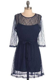 Drizzled Dreams Dress in Navy - Short, Blue, Lace, Sheath / Shift, Solid, Party, Mini, 3/4 Sleeve