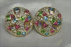 Swarovski Confetti Rhinestone Vintage Earrings by JBPacrat on Etsy, $18.00