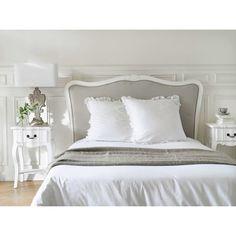 Tête de lit en bois massif et coton L 140 cm Joséphine | Maisons du Monde