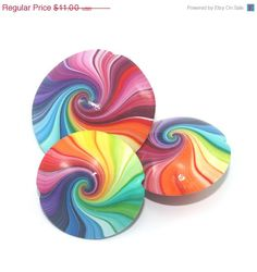 Christmas in July sale Colorful swirl lentil beads by ShuliDesigns, $9.35
