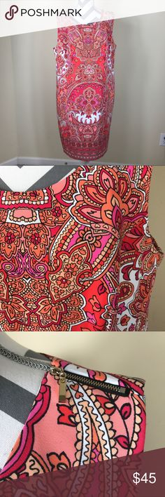 "🌷AGB Pink Paisley Print Sleeveless Knit Dress New With Tag! NEW AGB Women's Orange White Pink Boho Print Sleeveless Career Dress  Size:  Women's 16W Measurements laying down flat: 40"" long, 22"" across bust Material: 97% Polyester + 3% Spandex Description: Stretchy sleeveless dress, hidden zipper in the back, zipper detail on the shoulder AGB Dresses"