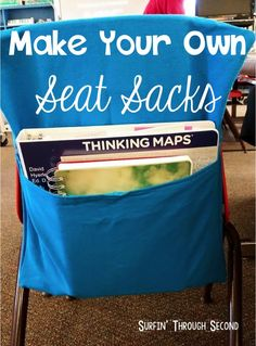 Easy and Affordable Seat Sacks - a great way to create extra storage in your classroom!   #TeacherTips #ClassroomStorage #ClassroomOrganization #FunctionalDecor