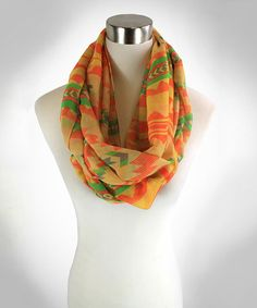 Another great find on #zulily! Orange & Green Geometric Infinity Scarf by TROO #zulilyfinds