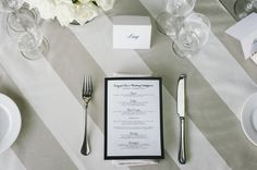 Table linen from Table Art. Vanilla Stripe overlays with Latte Stripe napkins.  Styled by The Big Group.  www.tabelart.com.au