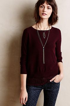Lace-Parted Pullover - anthropologie.com - 1 of 3