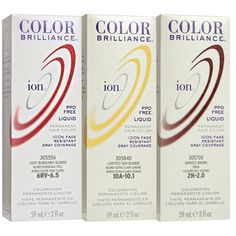 Ion Color Brilliance Permanent Liquid Hair Color uses advanced ionic technology utilizes pure ionic micro pigments for deeper, more intense color deposit. | ION at Home