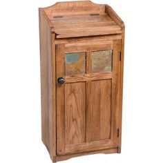 Believe your eyes, we even thought of the wastebasket. Perfect for a rustic themed kitchen or bathroom this stylish wastebasket container features slate inlays on the front door and a foldable top.  No wastebasket is included.
