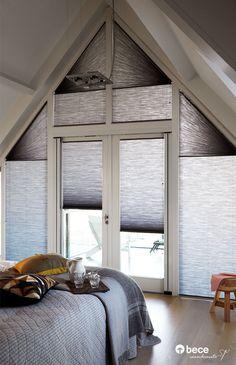 Plissé & Duette Shades zijn goed toepasbaar in afwijkende vorm van ramen, zoals ronde, driehoekige of schuine ramen.