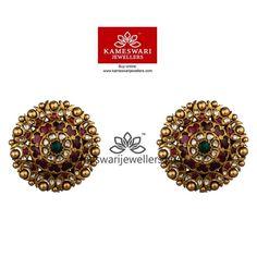 Buy Earrings Online   Hertitage Polki Studs from Kameswari Jewellers. Free Shipping Across #India and #USA Call/Whatsapp us on +91-7799217999.