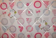 Large Clarke & Clarke Tea Cups Hand Crafted Fabric Notice / Pin / Memo Board