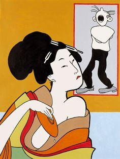 John Wesley  Utamaro Drinking, Bumstead Mad, 2003, acrylic on canvas