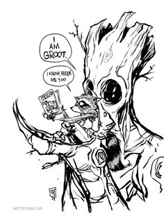 Rocket Raccoon, Groot and Tellos by Skottie Young Today's piece is for Mike Wieringo, one of the masters of talking animals. Miss you, buddy.