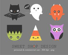 Kawaii Halloween Clip Art, Royalty Free Clipart, CUTE, Instant Download by SweetShopDesign, $4.95