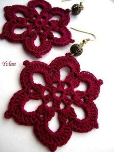 Best Ideas for crochet lace earrings beads Crochet Jewelry Patterns, Crochet Earrings Pattern, Crochet Flower Patterns, Crochet Patterns For Beginners, Crochet Accessories, Crochet Flowers, Thread Crochet, Love Crochet, Crochet Gifts