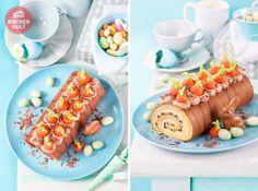 #Kuchen für Ostern, #Möhrenkuchen mal anders, #Möhrenbeet auf #Biskuitrolle, #Marzipanmöhren, cute #cakeidea for #easter, #carrotcake - idea