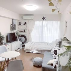 New bedroom ideas for small rooms neutral studio apartments ideas - All About Decoration Studio Apartment Living, Tiny Studio Apartments, Studio Apartment Design, Small Apartment Interior, Studio Apartment Decorating, Decorate Apartment, Modern Apartments, Apartment Ideas, Small Room Bedroom