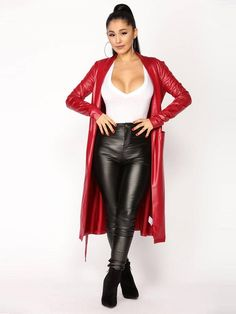 American Singer, Actress Ariana Grande Red Faux Leather Coat exclusively available for sale at amazing low cost celebjacket Pvc Fashion, Leather Fashion, Womens Fashion, Ariana Grande, Lederhosen Outfit, Mode Latex, Coat Outfit, Looks Cool, Sexy Outfits