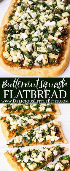 Fall's best flavors come together in this delicious recipe for Butternut Squash Flatbread. The base is a butternut squash puree with warm cinnamon and sweet maple syrup. It's topped with apples, pecans, shallots, and kale. This flatbread can be served as an appetizer or as the main dish. | #flatbread #flatbreadpizza #butternutsquash #pizza #fallrecipes Cold Appetizers, Finger Food Appetizers, Healthy Appetizers, Appetizers For Party, Appetizer Recipes, Thanksgiving Appetizers, Flatbread Recipes, Flatbread Pizza, Pizza Recipes