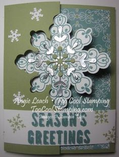 Letterpress Winter: Spectacular Snowflake Flip Card -  Part of my Countdown To Christmas Class Series. Register now!  snowflake card thinlit, cards, holiday, stampin up  Details at www.toocoolstamping.com