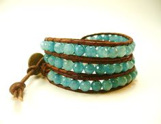 Beaded Wrap Bracelet, Aquamarine Bracelet, Leather Wrap Bracelet, Blue Bracelet, Beach Jewelry, June Trends, Graduation Gifts Jewelry