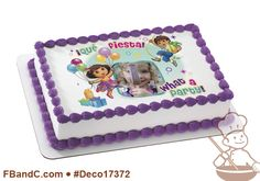 Deco17372 | DORA EXPLORER WHAT A PARTY! PC FRAME | Diego, fiesta, presents, gifts, balloons, custom, photo.