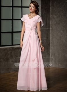 Mother of the Bride Dresses - $137.49 - A-Line/Princess V-neck Floor-Length Chiffon Mother of the Bride Dress With Crystal Brooch Cascading Ruffles (008006120) http://jjshouse.com/A-Line-Princess-V-Neck-Floor-Length-Chiffon-Mother-Of-The-Bride-Dress-With-Crystal-Brooch-Cascading-Ruffles-008006120-g6120