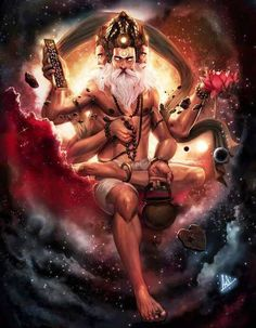 Brahma Dev ब्रह्मा - Is the Hindu god of creation and one of the Trimurti, the others being Vishnu and Shiva. Digital Art Illustration, Art Illustrations, Lord Shiva Painting, Hindu Deities, Hindu Art, Indian Gods, God Of War, Gods And Goddesses, Hanuman