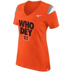 Nike Cincinnati Bengals Ladies Who Dey V-Neck Fan Top - Orange