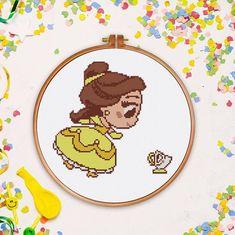 Tiny Belle cross stitch Beauty and the Beast Disney princess fairy counted Silhouette baby - Cross Stitch Pattern (Digital Format - PDF) Cross Stitch Letters, Cute Cross Stitch, Disney Stitch, Lilo And Stitch, Disney Cross Stitch Patterns, Cross Stitch Designs, Pixel Art Objet, Cross Stitching, Cross Stitch Embroidery