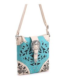 Concealed Carry Cross Body Handbag Purse w/ Studs Crystals & Silver Buckle (Choose Color)