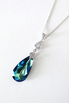 Bermuda Blue Faceted Teardrop Crystal Necklace, Something blue, Peacock Wedding, Swarovski crystal necklace, Cubic Zirconia, by GlitzAndLove, www.glitzandlove.com