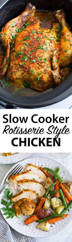 Slow Cooker Rotisserie Style Chicken – SO easy to make and SO good! Flavorful, tender and juicy. Perfect for busy weeknights. Slow Cooker Chicken Whole, Crock Pot Slow Cooker, Crock Pot Cooking, Slow Cooker Recipes, Crockpot Recipes, Chicken Recipes, Cooking Recipes, Healthy Recipes, Chicken Cooker
