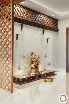 Wooden Temple For Home, Temple Design For Home, Home Temple, Temple Room, Pooja Room Door Design, Home Room Design, Home Interior Design, Living Room Designs, Mandir Design