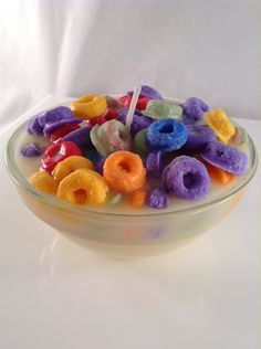 Fruit Loops & Ice Cream Bowl Candle by livelovewaxco on Etsy