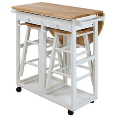 The stylish and sophisticated August Grove Charity 3 Piece Kitchen Island Set is the perfect stylish and functional addition to any home. This kitchen cart is ideally suited for the color scheme in… Rustic Kitchen, Country Kitchen, Kitchen Decor, Kitchen Colors, Decorating Kitchen, Diy Kitchen, Kitchen Storage, Kitchen Cabinets, White Cabinets