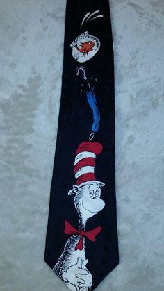 Cat In The Hat Tie Dr Seuss Christmas Tree Goldfish Bowl Mens Necktie Black Red #DrSeuss #NeckTie