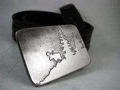 Grazing Moose Belt Buckle  Etched Stainless Steel by RhythmicMetal, $60.00