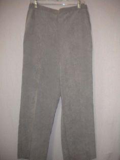 "Alfred Dunner Petite Size 14P X 28"" Inseam Elastic Grey Women Corduroy Pant #AlfredDunner #Corduroy"