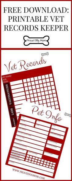 Free Printable Vet Records Keeper   DIY Dog Health Records   Organization Tips  