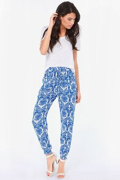 Go For Baroque Ivory and Blue Print Pants