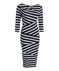 CeMe London Navy Blue Stripe Alya Dress | zulily
