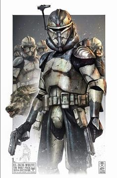 The Wolfpack was a clone trooper squad in the Grand Army of the Republic's 1 - Star Wars Clones - Ideas of Star Wars Clones - The Wolfpack was a clone trooper squad in the Grand Army of the Republic's Battalion that served under Jedi General Plo Koon and Star Wars Characters Pictures, Images Star Wars, Star Wars Pictures, Star Wars Fan Art, Star Wars Concept Art, Star Wars Clone Wars, Star Wars Rpg, Star Wars Zeichnungen, Tableau Star Wars