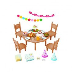 Sylvanian Surprise Party Set `One size Details : 4 chair(s), 4 plate(s), 4 Glass(es), 4 forks, 2 Pointy hats, 2 gift parcels, 2 garlands, 1 pie server, for lunchtime * Age : From 3 years old * Packaging : 12 x 12,5 x 6 cm. * Not suitable f http://www.MightGet.com/january-2017-13/sylvanian-surprise-party-set-one-size.asp
