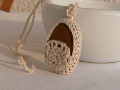 Crochet Stone Necklace Ivory Crochet Jewelry  by MonstersNight, $14.00
